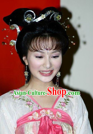 Traditional Chinese Style Princess Black Wigs and Headwear Set