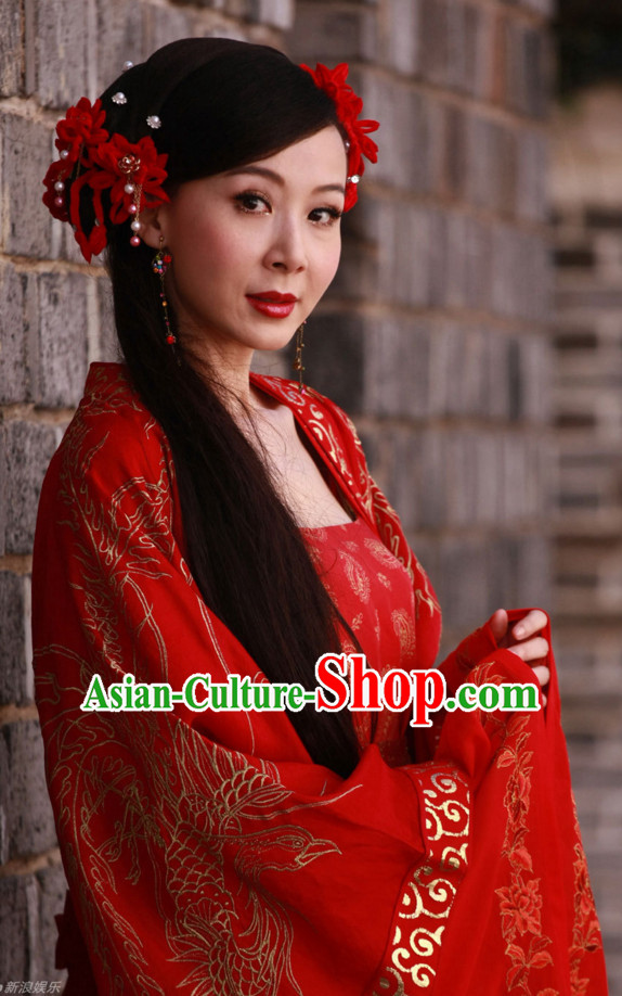 Traditional Chinese Style Red Fairy Hair Jewelry Set for Ladies