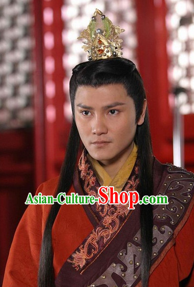 Traditional Chinese Style Prince Long Black Wig and Handmade Coronet for Men