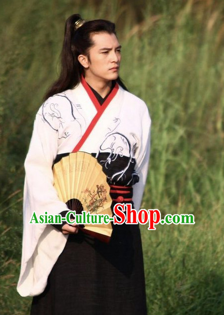 Ancient Chinese Style Famous Handsome Men Boys Costumes Complete Set for