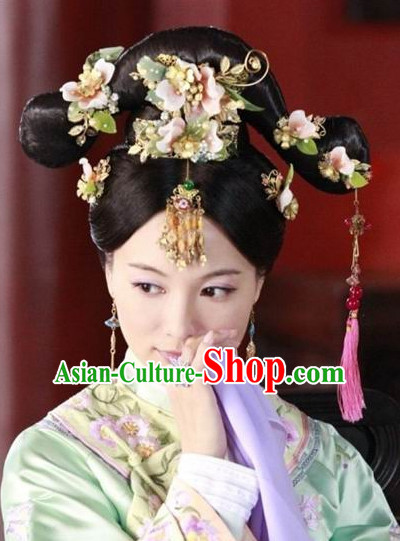 Traditional Chinese Princess Black Wigs and Hair Accessories Complete Set