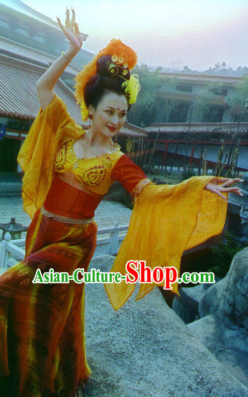 Wide Leggings Traditional Chinese Style Xi Shi Beauty Dance Costume and Hair Jewelry Complete Set for Women