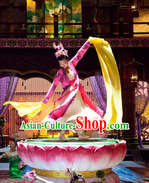 Long Sleeves Traditional Chinese Style Palace Dancer Costume and Hair Jewelry Complete Set for Women