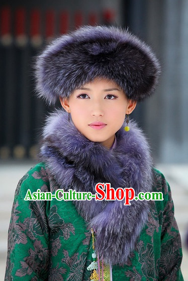 Traditional Ancient Chinese Style Dongbei Province Thick Hat Headpieces Set for Women