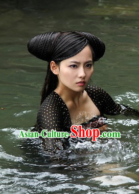 Traditional Ancient Chinese Style Fairy Long Black Full Wig Headpieces Set for Women