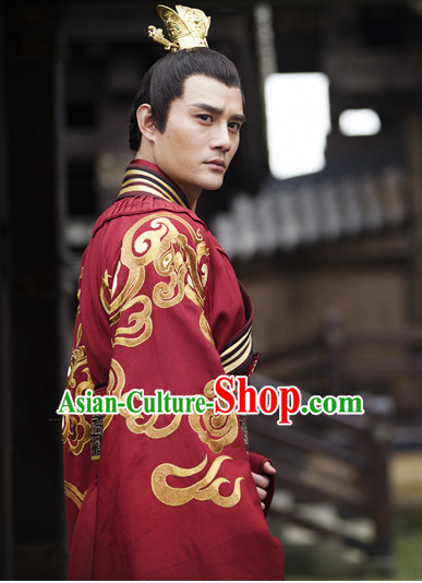 Traditional Ancient Chinese Prince Style Black Full Wig and Headband Set for Men Teenagers Boys