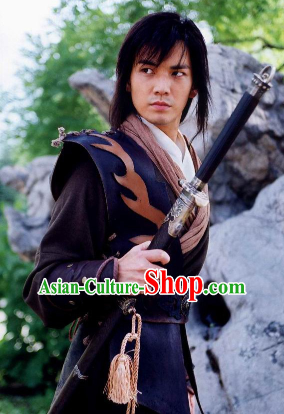 Traditional Ancient Chinese Style Knight Black Full Wig and Headband Set for Men Teenagers Boys