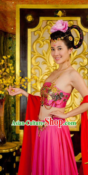 Traditional Chinese Ancient Style Classical Dancing Costumes Clothing and Headwear Complete Set for Women
