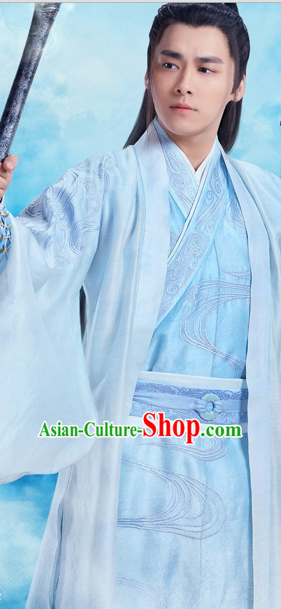 Traditional Chinese Ancient Hanfu Male Robe Clothes Garment Complete Set