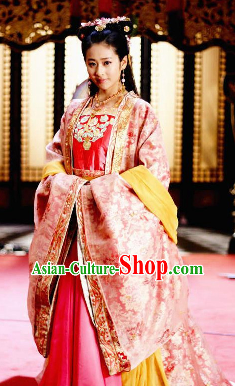 Traditional Chinese Ancient Princess Suits and Headdress Complete Set