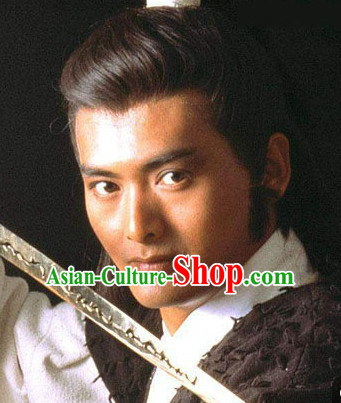 Traditional Ancient Chinese Style Black Full Wigs for Men