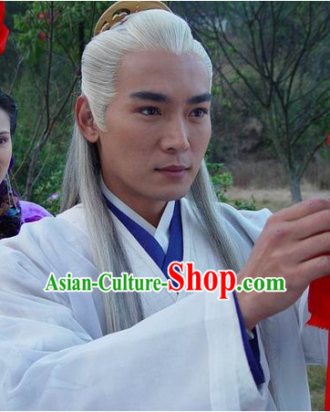 Chinese Traditional Style White Long Wigs for Men