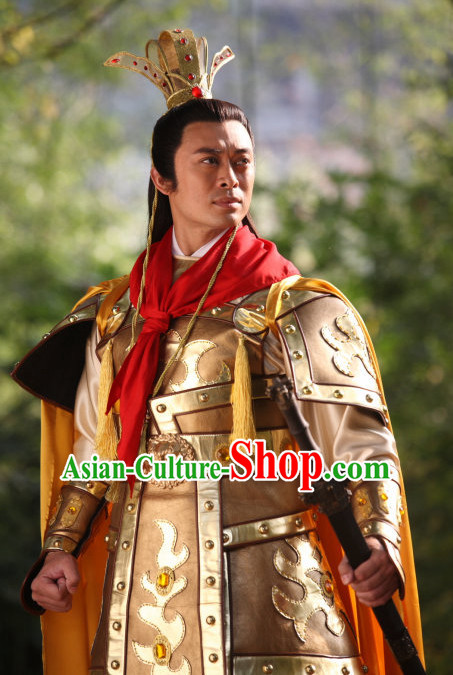 Ancient Chinese Style Prince Costumes and Headwear Complete Set for Men Boys