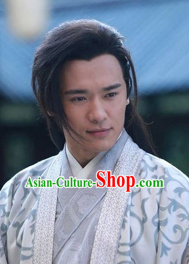 Ancient Chinese Traditional Style Samural Black Male Full Wigs