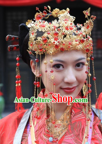 Ancient Chinese Traditional Style Queen Black Male Full Wigs and Hair Jewelry Set