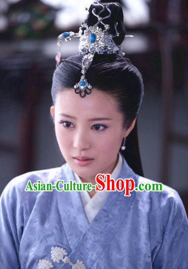 Ancient Chinese Traditional Style Xi Shi Beauty Black Female Full Wigs and Hair Jewelry Set