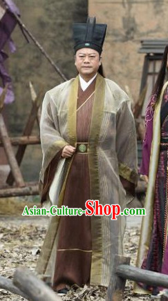 Custom Made Traditional Chinese Style TV Drama Film Male Long Robe and Hat Complete Set