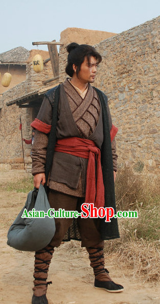 Traditional Chinese Ancient Warrior Costumes Clothes Complete Set for Men