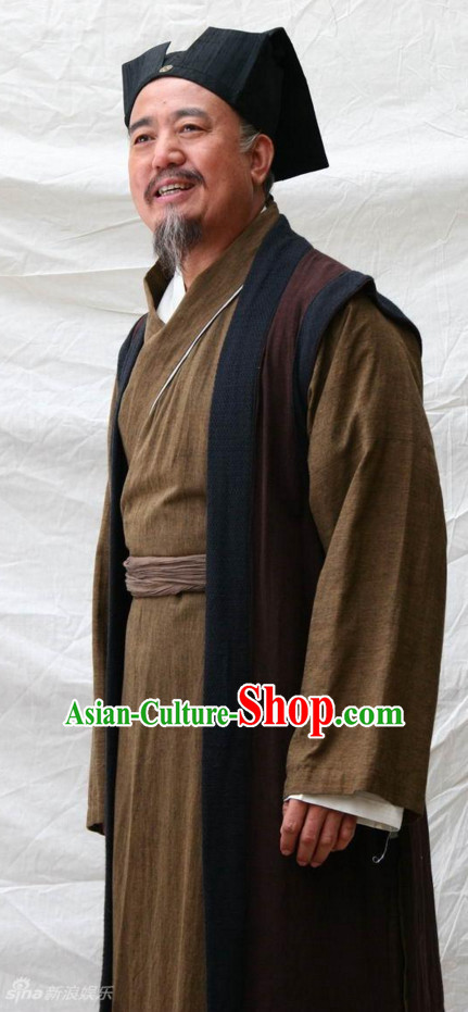 Traditional Chinese Ancient Teacher Painter Calligrapher Costumes and Headband Complete Set for Men