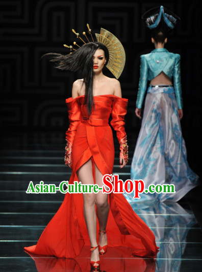 Custom Tailored Custom Make Made to Order Chinese Style Custom Made Professional Stage Performance Costumes and Hair Decoration Complete Set
