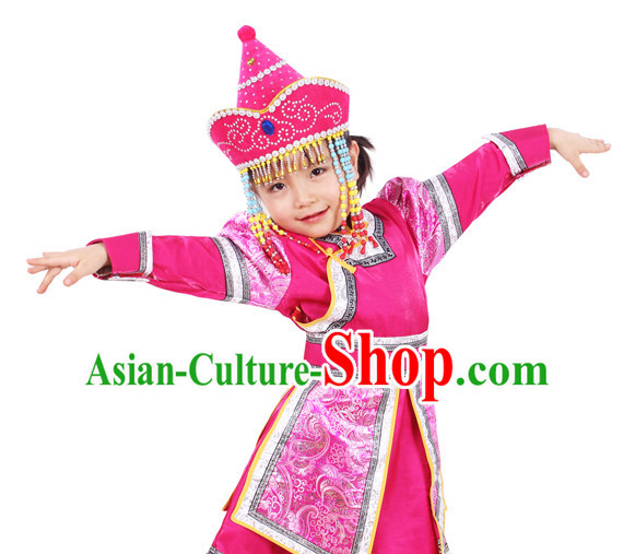 Chinese Traditional Ethnic Mongolian Clothes and Hat Complete Set for Girls