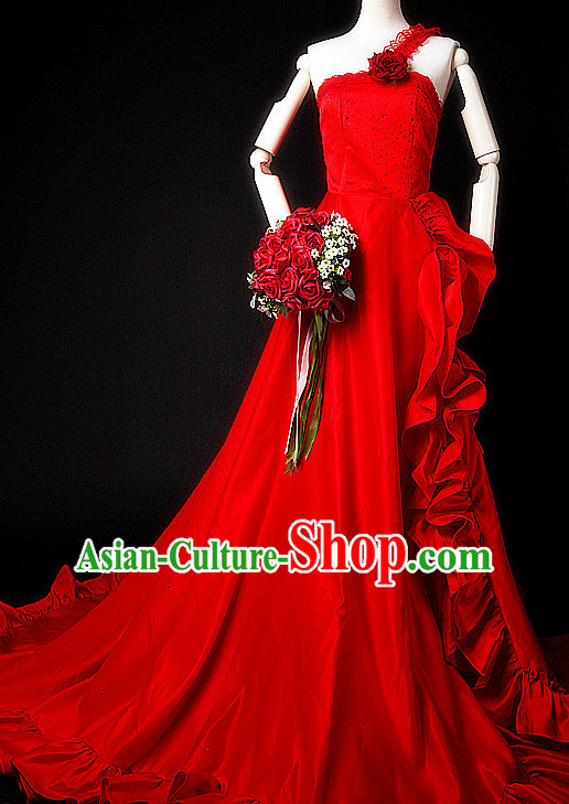 Chinese Old Style Wedding Dress Costumes Complete Set for Women