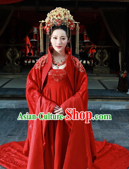 Chinese Bridal Hanfu Dress Clothing National Dress Ancient China Clothing Traditional Chinese Outfit Chinese Costumes and Headwear Complete Set for Brides