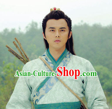 Chinese Traditional Black Male Long Wig and Hair Sticks Hair Ornaments Chopsticks Gold Hair Pins Hairsticks Oriental Asian Head Jewellery Hair Clips Hair pIeces Hair Style