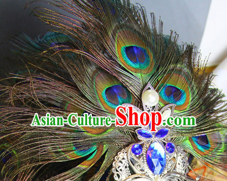 Ancient Chinese Imperial Royal Prince Peacock Feather Hair Jewelry Crown