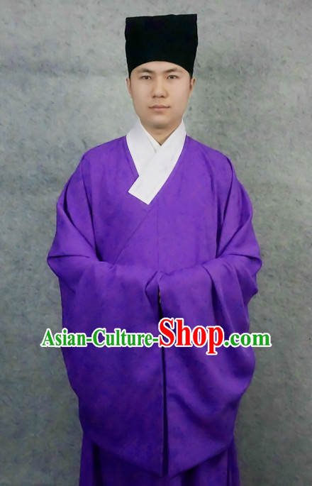 Ming Dynasty Chinese Scholar Male Costumes and Hat Complete Set for Men