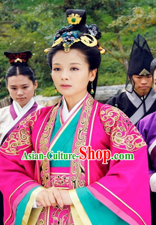 Ancient Traditional Chinese Style Empress Garment Dresses and Headgear Complete Set for Women