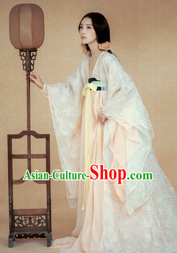 Ancient Chinese Pure White Princess Women Clothing