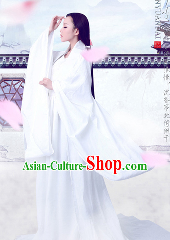Ancient Chinese Pure White Fairy Women Clothing