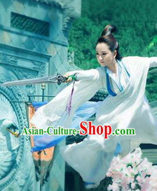 Ancient Chinese Fairy Clothes and Hair Jewelry Complete Set for Women