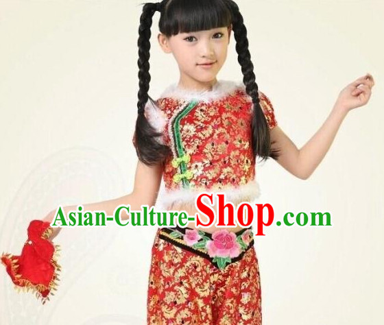 Chinese Competition Handkerchief Fan Dance Dress for Children Girls