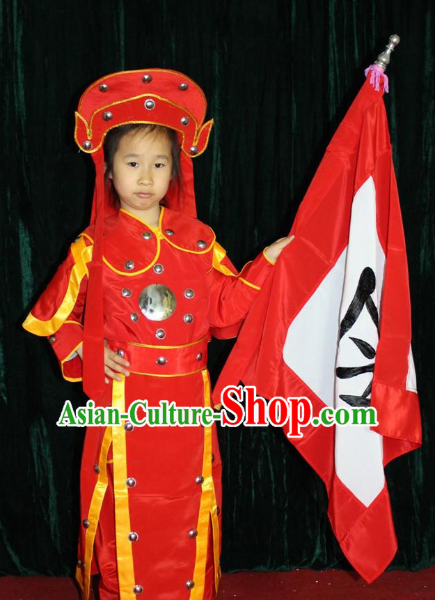Chinese Opera Hua Mulan Flag Warrior and Hat Complete Set for Men