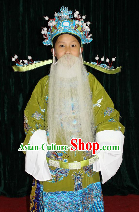 Chinese Opera Dragon Embroidery Costumes and Hat Complete Set for Children Boys
