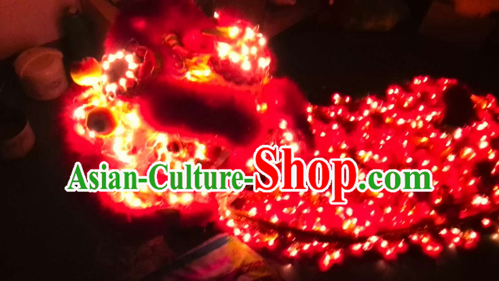 Red LED Lights Lion Dance Costumes Complete Set