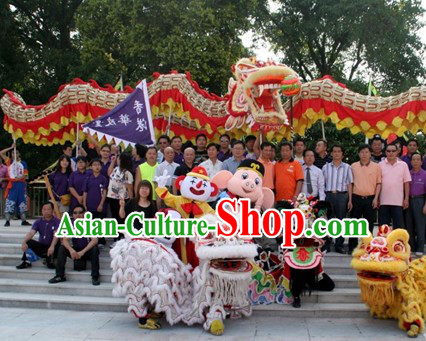 White Hok San Supreme Chinese Traditional Lion Dance Costume Complete Set