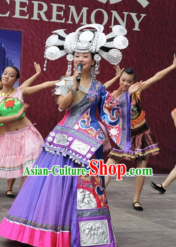 Top Chinese Traditional Miao Ethnic Garment and Hat Complete Set for Women or Girls