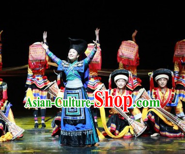 Top Chinese Traditional Miao Ethnic Clothing and Hat Complete Set for Women or Girls