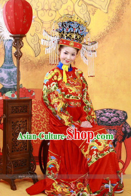 Top Chinese Traditional Ancient Princess Bridal Wedding Dresses and Hat Complete Set for Women or Girls
