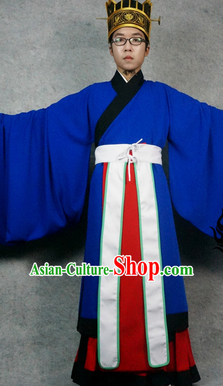 Ming Dynasty Clothing Garment and Hat Complete Set for Men