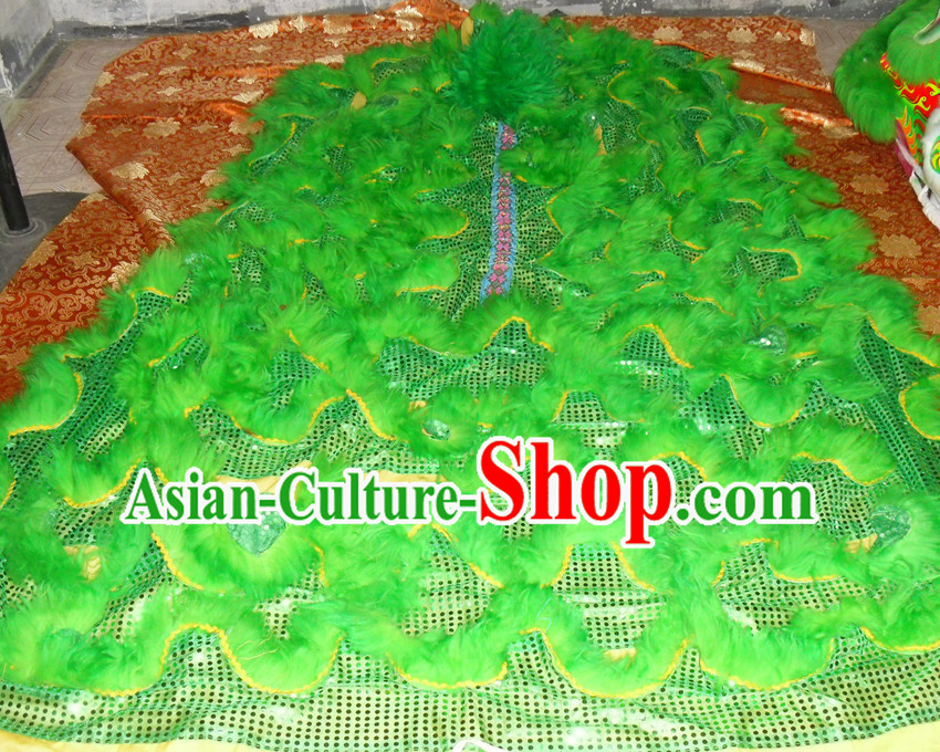 Green Top Asian Chinese Lion Dance Troupe Performance Suppliers Pants Equipments Art Instruments Lion Tail Costumes
