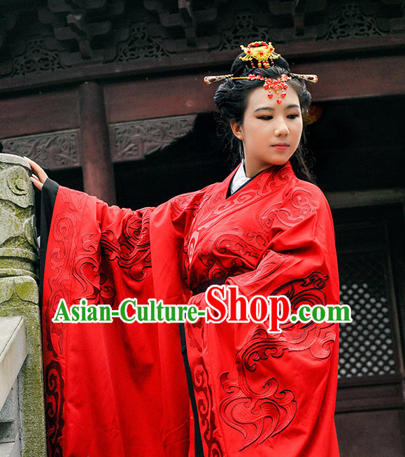Ancient Chinese Wedding Dress Garment and Hair Accessories Complete Set for Women