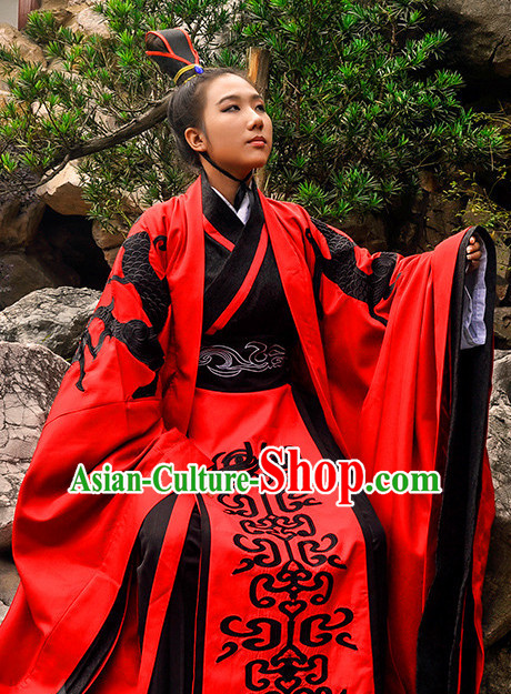 Ancient Chinese Wedding Dress Garment and Hair Accessories Complete Set for Men