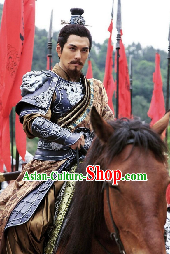 Ancient Chinese Superhero Emperor Fighter Body Armor Costumes Garments Complete Set for Men