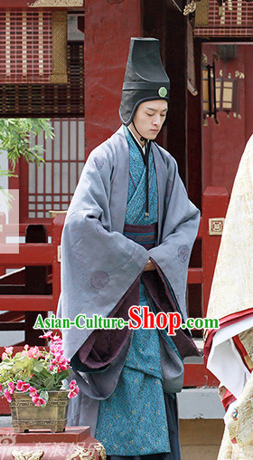 Ancient Chinese Palace Waiter Official Costumes Garments Complete Set for Men