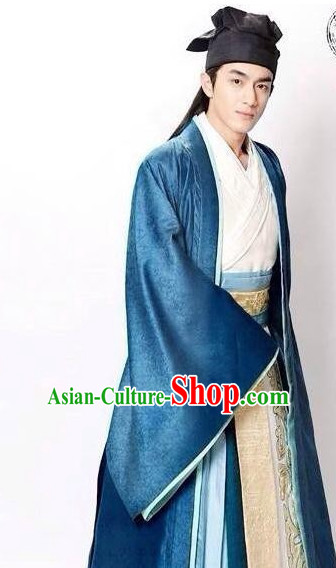 Ancient Chinese Male Hanfu Clothing Garments and Hat Complete Set for Men