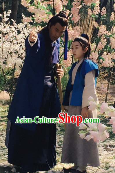 Ancient Chinese Young Men Male Hanfu Dresses Complete Set for Kids